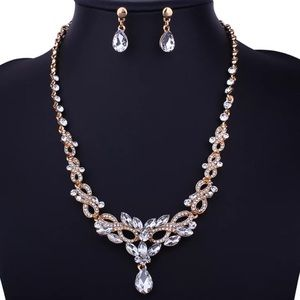 Set of Rhinestone Earrings and Necklace